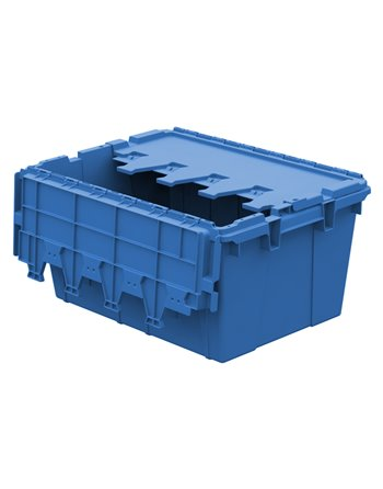 """Blue, 21"""" x 15"""" x 9"""" Attached Lid Container, Traction Bottom"""