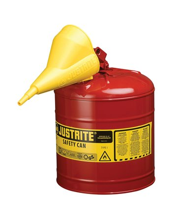 Safety Cans, Type I, Steel, 5 US gal., Red, FM Approved/UL/ULC Listed