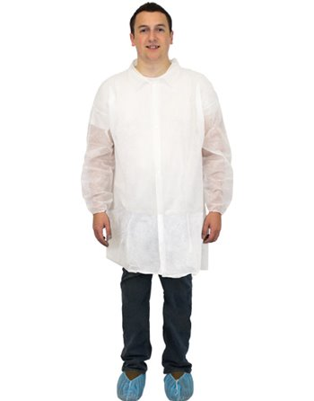 Disposable Labcoat, Polypropylene, No Pockets, 4 Snap Closure, 50/Case