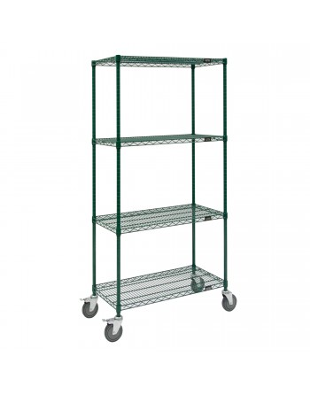 Epoxy Wire Cart, NSF Approved, Green, Mobile, 4 Shelf