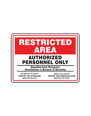 """Restricted Area Safety Sign: Authorized Personnel Only, 10 x 14"""""""