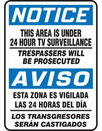 """Bilingual OSHA Notice Safety Sign: This Area Is Under 24 Hour Tv Surveillance, 14"""" x 10"""" Adhesive"""