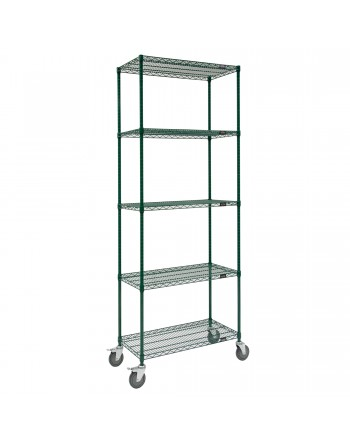 Epoxy Wire Cart, NSF Approved, Green, Mobile, 5 Shelf