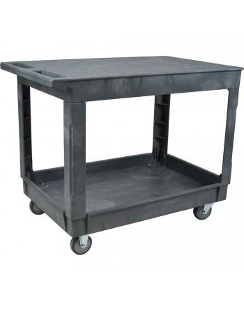 "Flat Shelf Utility Service Cart, 2 Tiers, 25-1/2"" x 32-1/2"" x 40-1/2"", 500 lbs. Capacity"