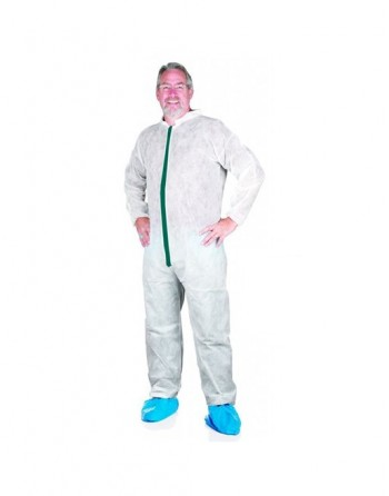 Greenline Coverall, Polypropylene, Elastic Wrists/Ankles, Collared, 50/Case