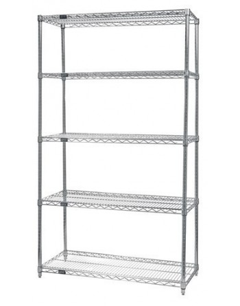 """NSF Stainless Steel Starter Wire Shelving Kit, Wire Cart,5 Shelf, Size 12"""" x 36"""" x 86"""""""